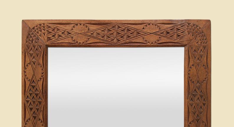 Miroir ancien orientaliste bois sculpt exotique d but xx me for Miroir antique en bois