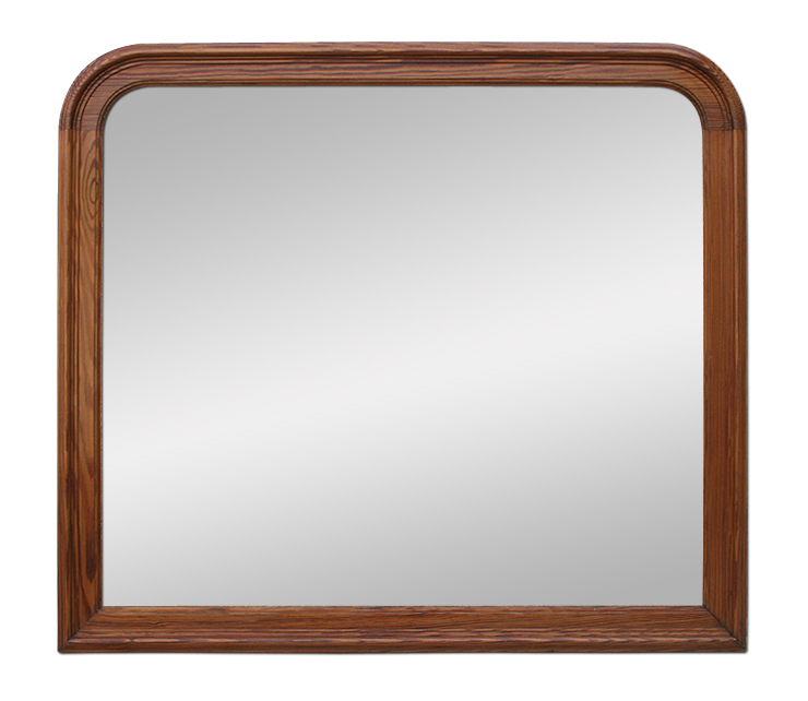 Grand miroir ancien en bois naturel pitchpin for Grand miroir ancien