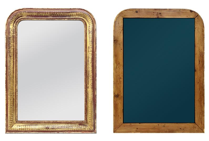 Miroir ancien en bois doré patiné style Louis Philippe circa 1880