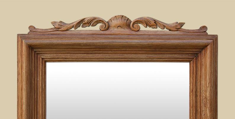miroir bois ancien en ch ne clair fronton. Black Bedroom Furniture Sets. Home Design Ideas