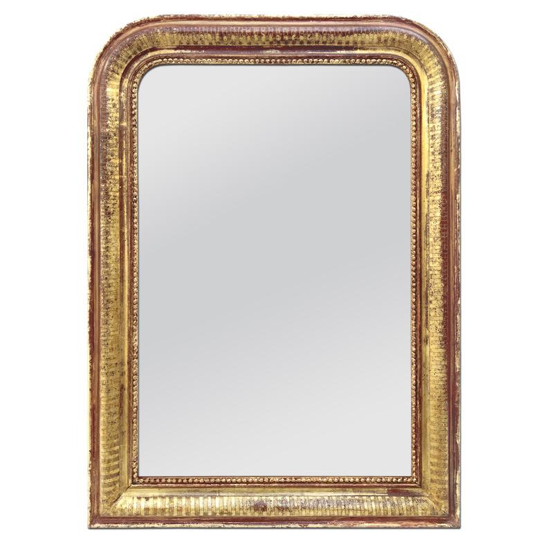 Miroir ancien Louis Philippe doré patiné circa 1880