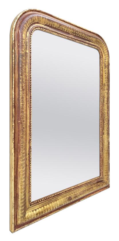 Miroir ancien Louis Philippe doré patiné décor gravé 1880