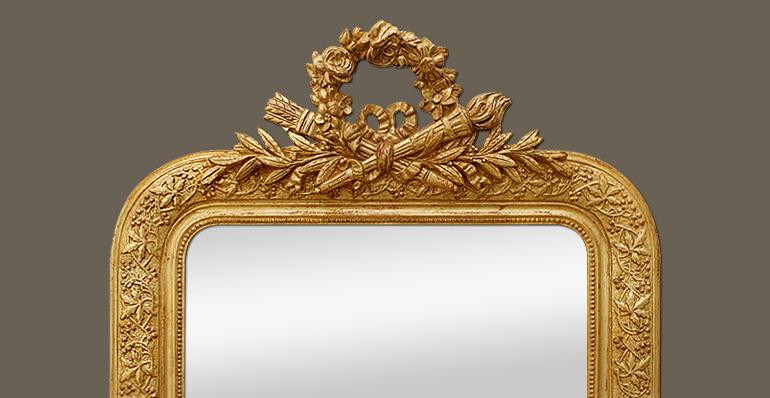 Miroir ancien dor coquille noeud carquois et flambeau for Glace miroir moderne