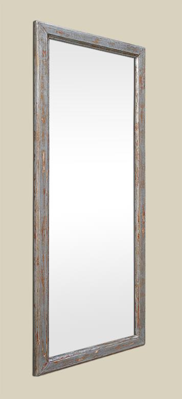 Miroir bois ancien argent patin vieilli for Glace miroir moderne