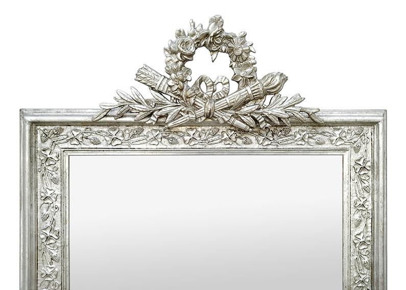 Miroir argenté à fronton style Art Nouveau circa 1900