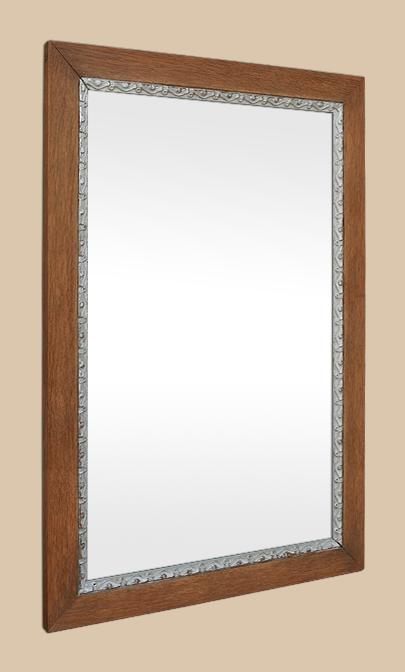 Miroir bois ann es 50 ch ne clair d cor argent for Miroir largeur 50 cm