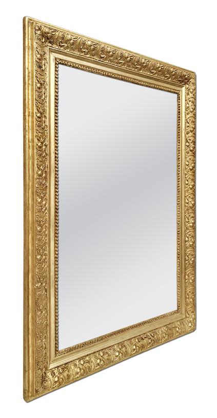 Miroir bois doré ancien décor feuilles de vigne