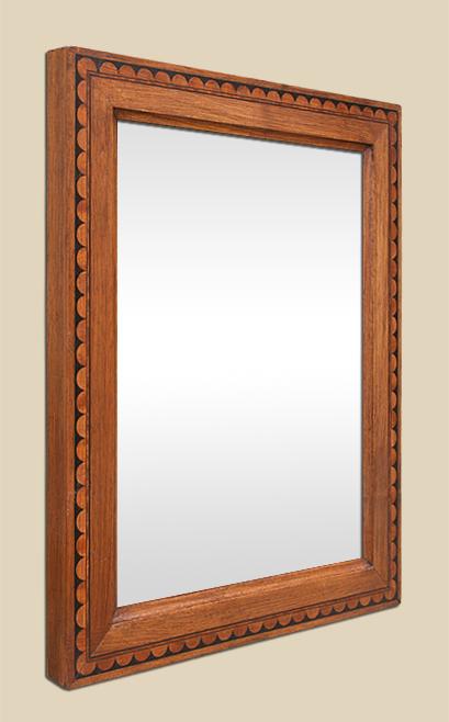 Miroir bois ancien marqueterie art populaire for Glace miroir moderne