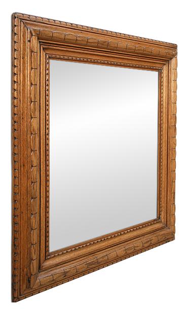 Miroir bois sculpt art populaire breton for Miroir chene clair