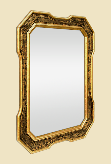 Miroir dor patin ancien octogonal ann es 60 70 for Miroir octogonal