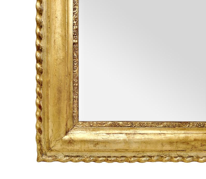 Miroir doré patine ancien Louis Philippe décor torsades, fleurettes, rinceaux