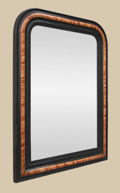 miroir louis philippe moulure noir decor imitation bois de