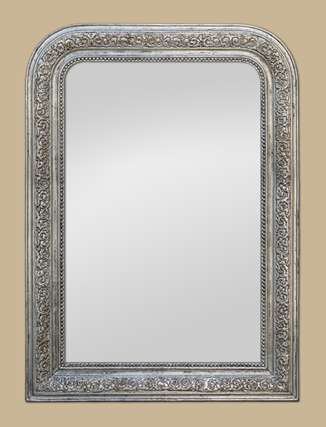 miroir louis philippe argent a d cors de feuillages. Black Bedroom Furniture Sets. Home Design Ideas
