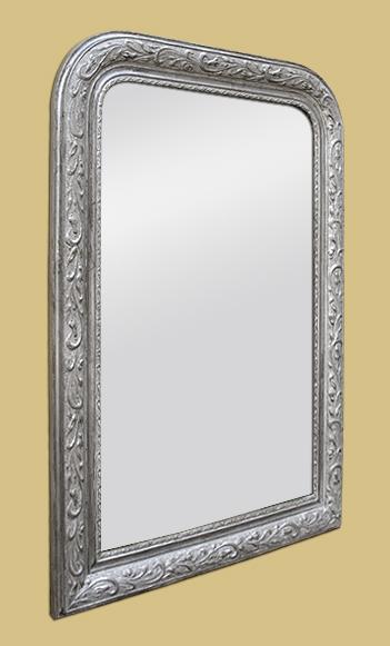 glace miroir louis philippe argent d cor de feuilles. Black Bedroom Furniture Sets. Home Design Ideas