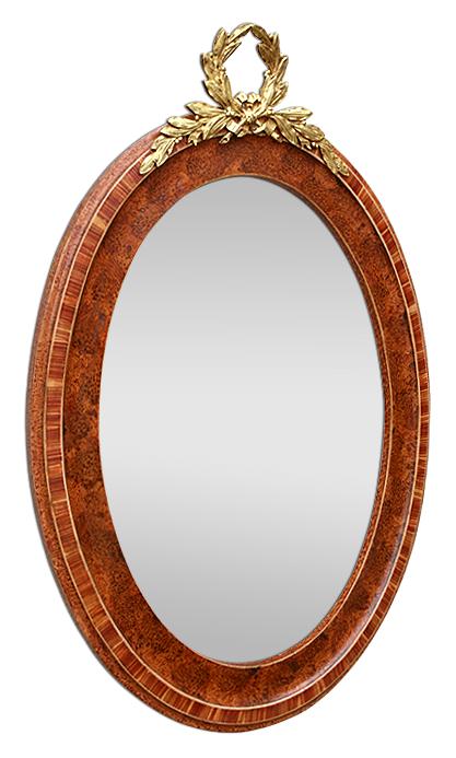 glace miroir ovale ancien d cor imitation bois fronton bronze dor. Black Bedroom Furniture Sets. Home Design Ideas
