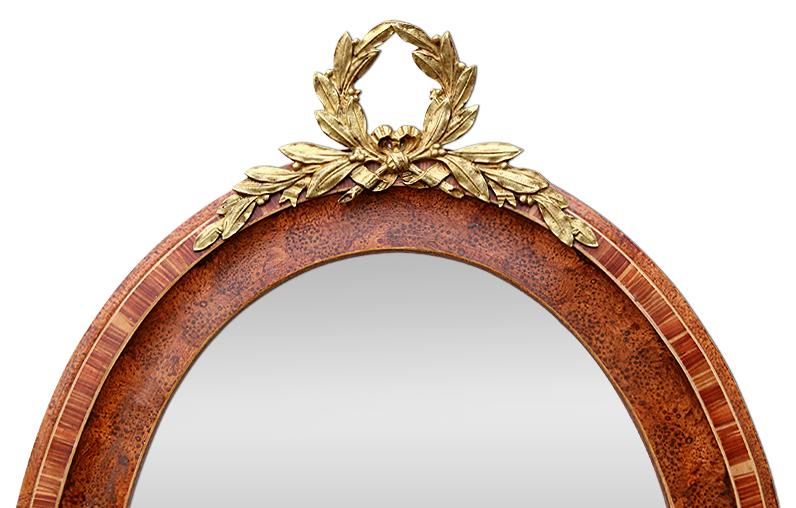 Glace miroir ovale ancien d cor imitation bois fronton for Glace miroir moderne