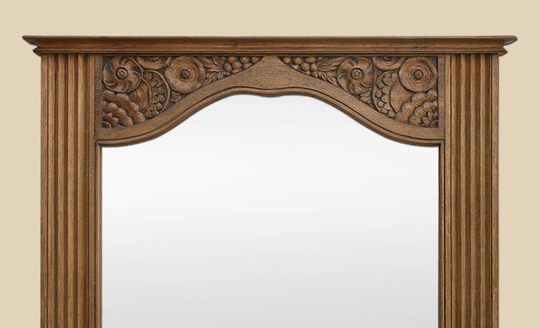 Miroir trumeau ancien en bois de ch ne naturel sculpt for Miroir trumeau ancien