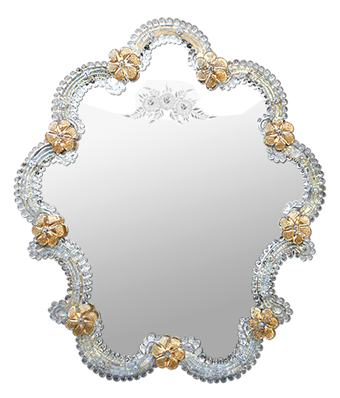 miroir v nitien en verre de murano dor