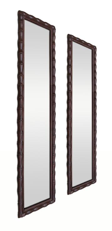 Paire de miroirs anciens style colonial asiatique bois for Miroir acajou