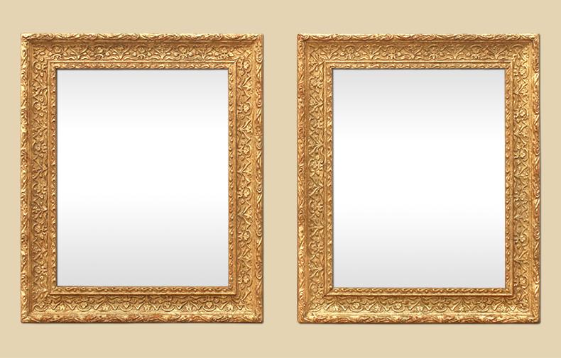 Paire de miroirs bois dor s anciens for Miroir de poche ancien