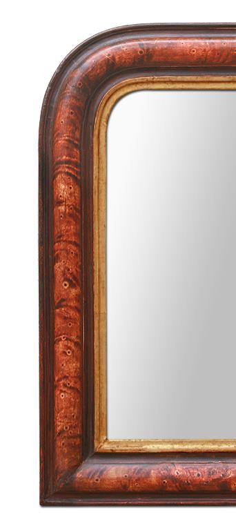 Petit miroir louis philippe decor imitation bois de loupe for Miroir bordure doree