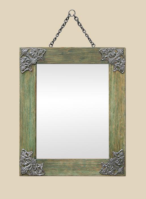 petit miroir bois ancien art nouveau color angles m tal. Black Bedroom Furniture Sets. Home Design Ideas