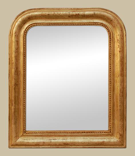 petit miroir ancien dor patin la feuille