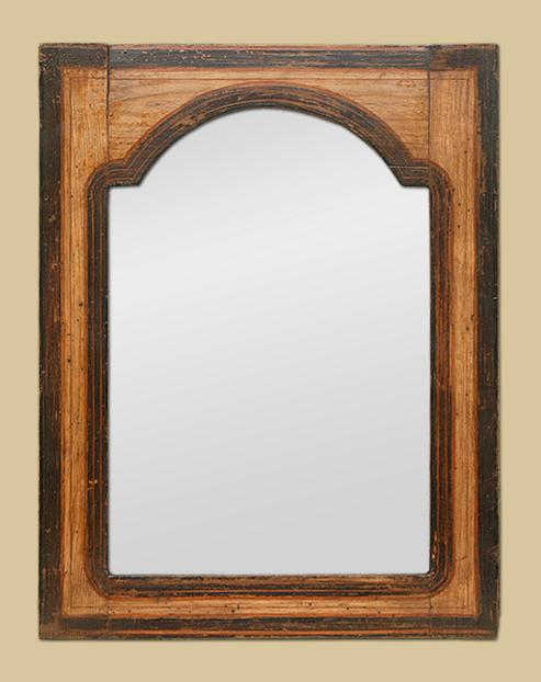 petit miroir ancien en bois d cors polychromes. Black Bedroom Furniture Sets. Home Design Ideas