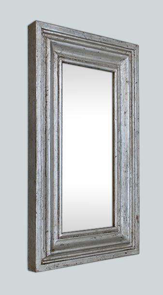 Petit miroir bois argent patin moulure ancienne for Glace miroir moderne