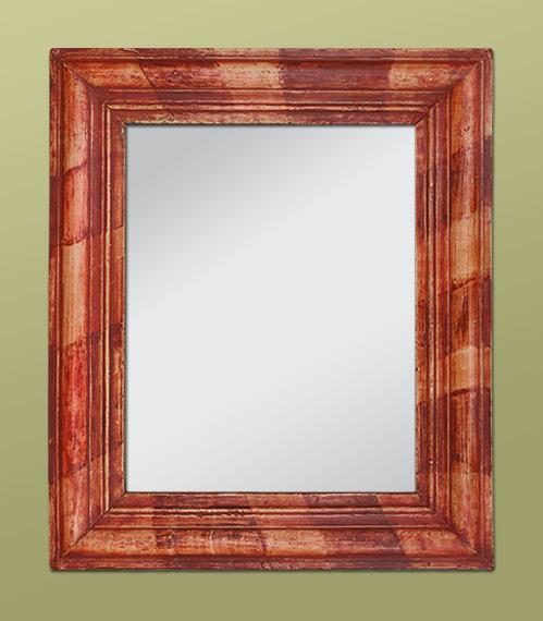 Glace miroir patine color rouge orang for Petit miroir sur pied ancien