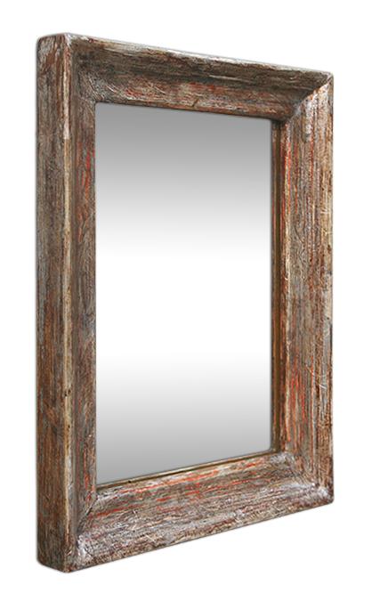 Petit miroir argent patin vieilli for Petit miroir