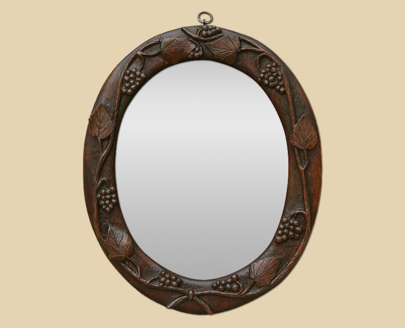 Petit miroir ovale ancien en bois sculpt la main for Petit miroir