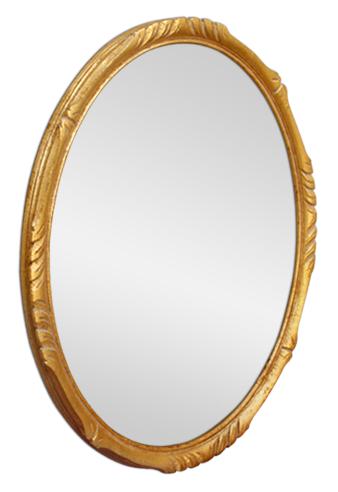 petit miroir ovale bois dor style montparnasse. Black Bedroom Furniture Sets. Home Design Ideas