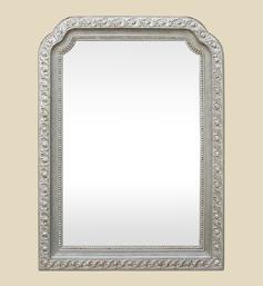 Miroir-Art-Nouveau-argente-forme-chantournee