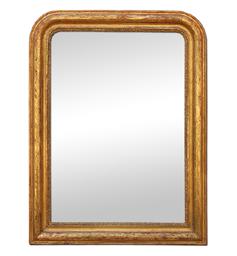 Glace ancienne miroir style Louis-Philippe doré patiné