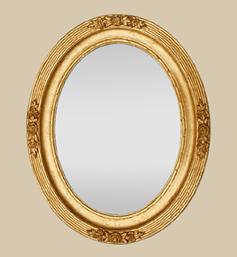 Glace miroir ovale doré art 1900