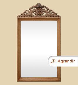 Grand miroir ancien à fronton sculpté en bois naturel