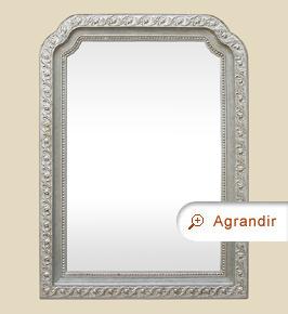 Grand miroir ancien argenté Art nouveau 1900 de forme chantournée
