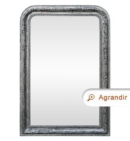 Grand miroir ancien argent patiné époque fin 19ème siècle