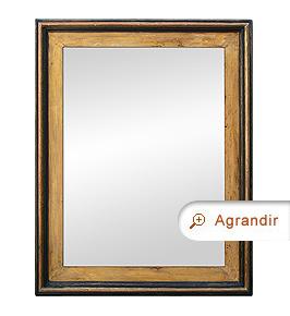 Grand miroir ancien bois peint patiné style montagne