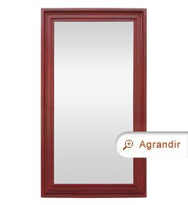 Grand miroir ancien bois peint rouge patiné années 50