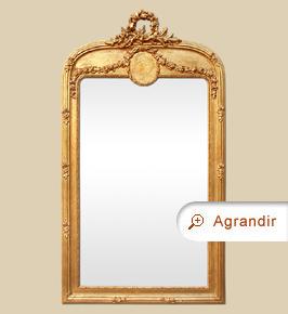 Grand miroir ancien cheminée doré coquille et médaillon Louis XVI