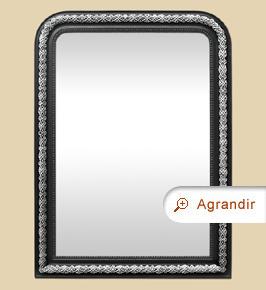 Grand miroir ancien cheminée style Napoléon 3, noir et argent patiné