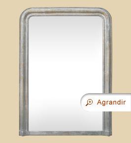 Grand miroir cheminée ancien Louis-Philippe argenté patiné vieilli
