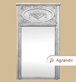 Grand miroir cheminée trumeau ancien style Art Nouveau argenté