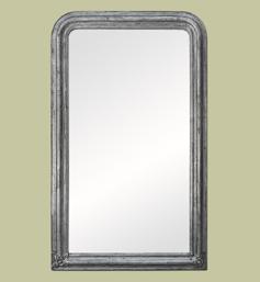 Grand miroir cheminée argenté patiné à décors de fleurs