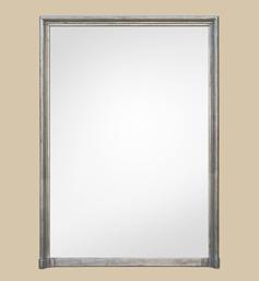 Grand miroir cheminée argenté patiné