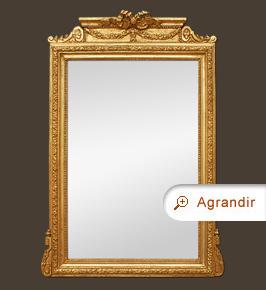 Grand miroir cheminée ancien doré à fronton décor style Louis XVI