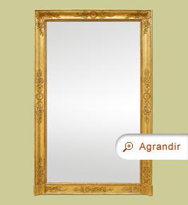 Grand miroir cheminée époque empire bois doré ancien