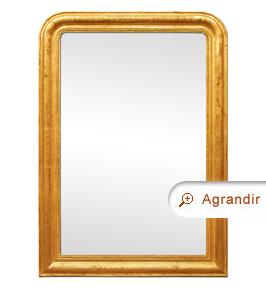 Grand miroir doré ancien patiné style Louis-Philippe, cheminée